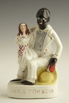 """Staffordshire Figure of """"Uncle Tom and Eva,"""" c. 1860 disturbingly[ unintentionaly I'm sure] funny"""