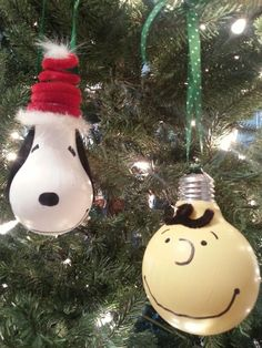 Charlie Brown and Snoopy lightbulb ornaments.