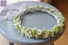 W bieli z delikatnym śniedkiem ❤ * wianek - ARTEMI - dekoracje ślubne, wianek ślubny, opaska kwiatowa, dekoracje ślubne, florystyka