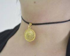 ayat ul kursi gold choker necklace arabic Allah choker