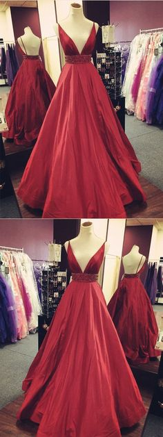 Gorgeous V-neck Spaghetti Straps Backless Beading Red Prom Dresses, PD0153
