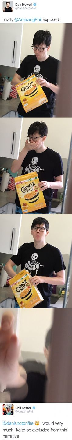 He's wearing his Papyrus shirt. And he's wearing Cookie Monster pants. A - Funny Nerd Shirts - Ideas of Funny Nerd Shirts - He's wearing his Papyrus shirt. And he's wearing Cookie Monster pants. And his response was from Hamilton. I love this man Dan Howell, Markiplier, Pewdiepie, Phan Is Real, Dan And Phill, Phil 3, Danisnotonfire And Amazingphil, Cat Whiskers, Phil Lester
