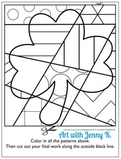 "FREE pattern-filled shamrock coloring sheet. Try out this sample ""pop art"" coloring sheet with your students for St. Patrick's Day. See how much they enjoy this kids craft art activity. A fun and easy art lesson for March from Art with Jenny K."