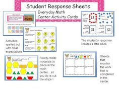 """Multi-Grade Matters: Ideas for a Split Class: Everyday Math Kindergarten Student Response Sheets for the """"Center Activity Cards"""""""