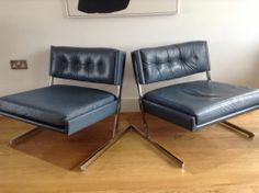 Stunning Pair Of Gordon Russell 1970's Series R234 Leather And Chrome Chairs