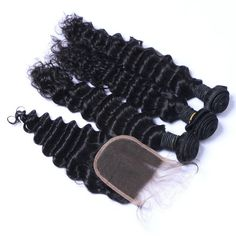 Sets 3 1 Deep Wave With 4×4 Closure Indian Hair Extension [VDW01]