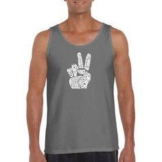 Los Angeles Pop Art Men's Tank Top - Peace Fingers, Size: Medium, Gray
