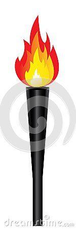 Torche olympique avec la flamme d isolement. Vecteur