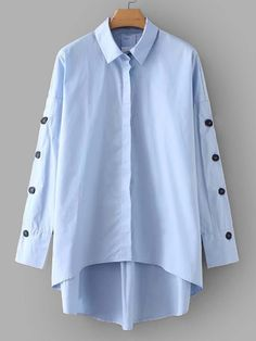 To find out about the Button Detail Dip Hem Shirt at SHEIN, part of our latest Blouses ready to shop online today! Trench Dress, Plain Shirts, Spring Shirts, Lingerie Sleepwear, Shirt Blouses, Blouses For Women, Shirt Dress, Fashion Outfits, Long Sleeve