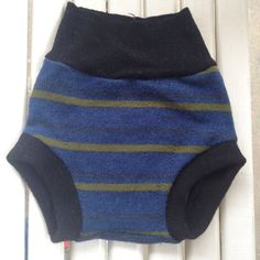 Large Upcycled navy blue Merino with hunter green and charcoal gray stripe wool soaker Cloth Diaper Cover on Etsy, $18.00