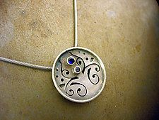 Small Circle Necklace 1 with Blue Sapphires by Brittany Foster (Silver & Stone Necklace)