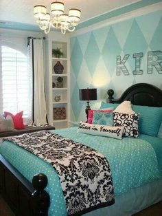 Cute and Cool Teen Girl Bedroom Ideas! A great roundup of a teenage girls bedroom idea project! Blue Teen Girl Bedroom, Teenage Girl Bedrooms, Teen Rooms, White Bedroom, Girl Rooms, Girls Paris Bedroom, Blue Bedroom Ideas For Girls, Teal Teen Bedrooms, Aqua Rooms
