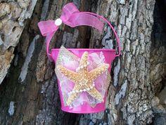 Pink Beach Flower Girl Flower GIrl Bucket Beach by OneFunDay, $25.00