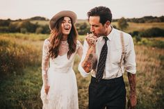 Great style here, love the bride's hat!