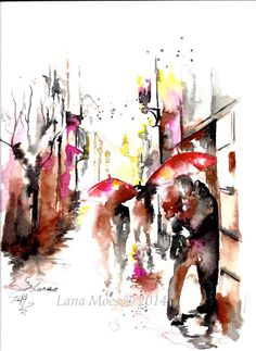 Paris Travel Watercolor Illustration - Print from Original Watercolor Painting Cityscape Romance - By Lana Moes