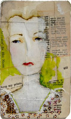 harriet ~ watercolors, gouache and oil pastels on old paper / by Lynne Hoppe
