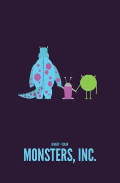 Pixar Movies — Monsters, Inc. Minimalist Poster :) -He Disney Pixar, Animation Disney, Film Disney, Disney And Dreamworks, Disney Bound, Disney Love, Disney Magic, Disney Posters, Alternative Movie Posters
