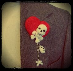 Heart & Bones - Needle felted skull and heart. Brooch and hair pin. £12.50