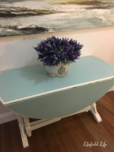 drop leaf oak table painted in Duck egg and off white base chalk paint by Lilyfield Life