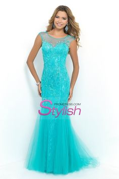 2015 Scoop Mermaid Prom Dresses With Beads Lace And Tulle Sweep Train USD 209.99 STPX491RPY - StylishPromDress.com