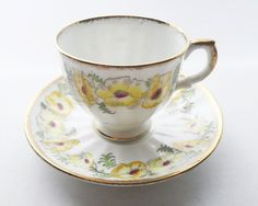 Vintage Salisbury Bone China St Brigid Anemone Flower Teacup and Saucer - English Bone China Yellow Floral Tea Cup