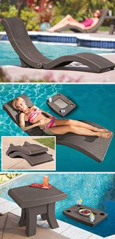 Floating Chaise Lounge and Floating Table work in or out of the pool.