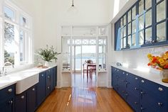 blue kitchen - love the cabinet colors