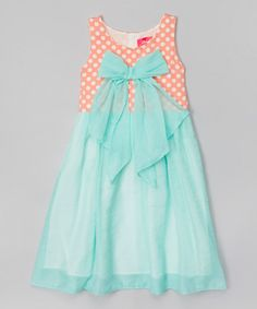 http://www.zulily.com/invite/vhanson979 Loving this Aqua & Coral Polka Dot Dress - Toddler & Girls on #zulily! #zulilyfinds