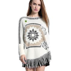 Women Poncho Cape Pullover Sweater Loose Fit Tassel Floral White