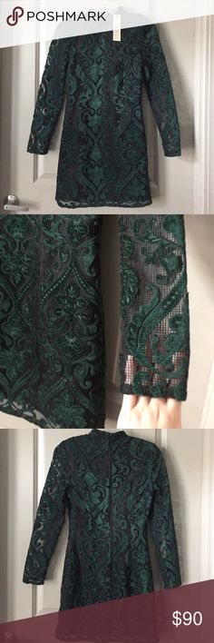 Topshop green and black luxury lace mini dress Never worn before. All tags attached. Dark green designs on the lace. Black mini dress underneath. Beautiful design. Topshop Dresses Mini