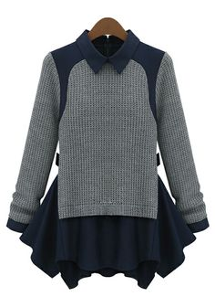 To find out about the Grey Long Sleeve Contrast Navy Lapel Ruffle Sweater at SHEIN, part of our latest Sweaters ready to shop online today! Blouses For Women, Sweaters For Women, Sweater Layering, Bleu Marine, Pulls, Long Sleeve Sweater, Peplum Sweater, Sweater Shirt, Chiffon Tops