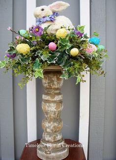 Easter bunny arrangement-Easter decorations http://www.timelessfloralcreations.com/ https://www.facebook.com/timelesswreaths