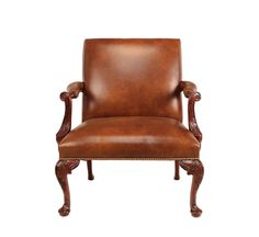 Georgian Mahogany Leather Club Chair. Available in custom finishes.