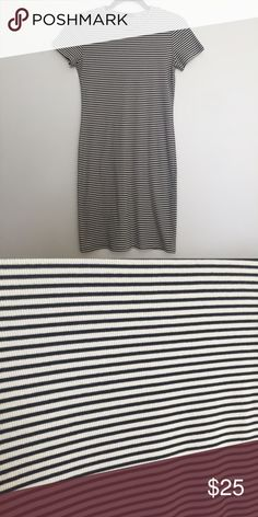 Ribbed Striped Bodycon Dress Black and white striped ribbed bodycon t shirt dress. Brandy Melville dupe. Size large, but could fit a medium too. I'm a small and liked wearing the large so that it was a little loose. Worn only twice! So cute! Soprano Dresses Mini