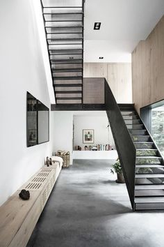 Studio David Thulstrup has turned a factory in Copenhagen into a photographer's home, featuring a plant-filled atrium at its centre and restored brick walls Interior Stairs, Interior Architecture, Interior And Exterior, Interior Design, Interior Paint, Interior Decorating, Escalier Design, House Stairs, Staircase Design