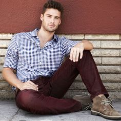 Burgundy pants with blue/white checked shirt