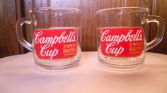 2 Vintage Campbell's Soup Clear Glass Coffee Cup Mug 2 Minute Soup Mix in Collectibles | eBay