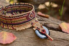 Handgefertigte tribal-Choker Makramee Halskette mit schwarzem