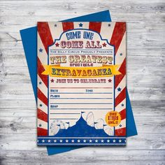 This circus invitation is perfect if your in a rush!  Just download, print, and hand write your event details.  #circus #partyideas