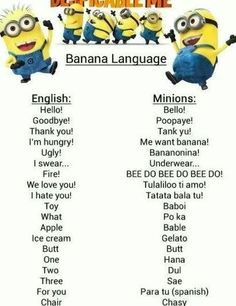 learn how to speak banana language