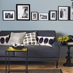 Pale Blue And Charcoal Grey Living Room Living Room Navy Blue Couches Living Room Charcoal Living Rooms, Living Room Grey, Living Room Modern, Living Room Designs, Living Room Decor, Charcoal Couch, Grey Room, Dark Grey Couches, Grey Walls