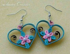 Earrings - Hearts w/Flowers Inside Paper Quilling Earrings, Arte Quilling, Origami And Quilling, Paper Quilling Designs, Quilling Paper Craft, Quilling Patterns, Quilling Tutorial, Fabric Beads, Paper Beads