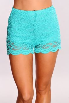 lace shorts.  Turquoise shorts. This season style. Summer style. Girly shorts. Dress up or down.