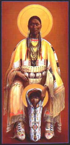 Cheyenne-virgin-and-child-by-father-John-Giuliani. Father explains his art-As a Catholic priest and son of Italian immigrants I bear the religious and ethnic burden of ancestral crimes perpetrated on the first inhabitants of the Americas. Many have been converted to Christianity, but in doing so some find it difficult to retain their indigenous culture.
