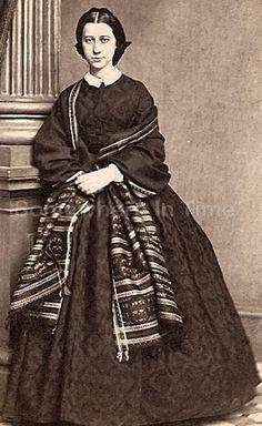 CDV Civil War Era Woman Hoop Dress With Shawl Whitaker Philadelphia PA-