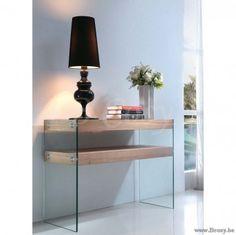XX-PR Interiors Pisa moderne glazen wandtafel-console met hout 120