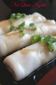 Dim Sum Steamed Rice Noodle Rolls with Char Siu and Scallions (Chee Chong Fun).