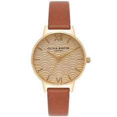Buy Tan/Gold Olivia Burton Women's Scallop Dial Leather Strap Watch from our Women's Watches range at John Lewis & Partners. Classic Tan, Thing 1, Gold Face, Olivia Burton, Gold Jewelry, Jewellery, Tan Leather, Gold Watches, Jewelry Watches