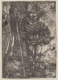 1450-1600 Beham, Hans Sebald (engraver) soldat. One of a collection of illustrations of Austrian soldiers. Figure near tree holding pole. Copyright - Anne S.K. Brown Military Collection at Brown University.  [Likely date is c. 1520 or later]