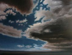 """Ripsaw Edge"" by Jerry Moon Fine Art-Oil-Landscape-Painting-Kansas City, Missouri-Midwest-Sky-Clouds-Storm-Grey-Blue-Dramatic-Rain"